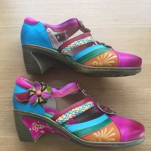 Funky Multi Coloured Leather Wedge Heel Mary Janes